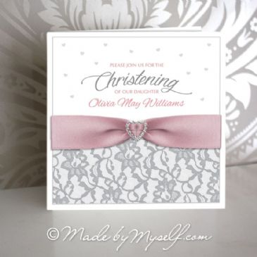 Lace and Ribbon Christening Invitation - Girl